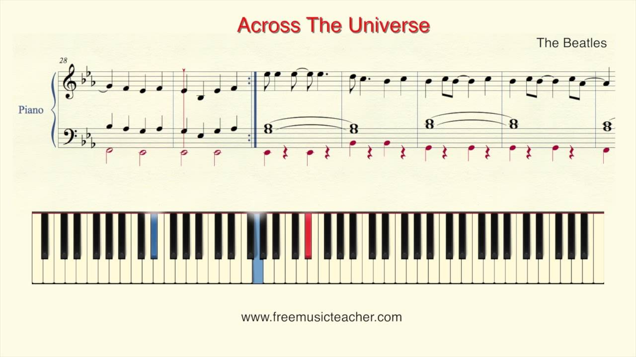 across the universe piano tutorial